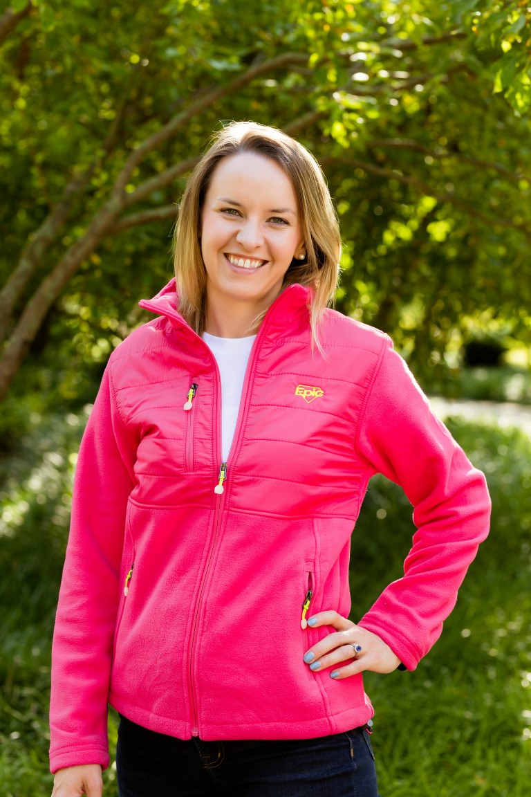 Women's Fleece Jacket with Quilted Yoke Overlay